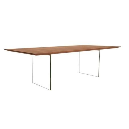 notenhouten-tafel-nouvion-glazen-onderstel