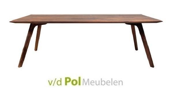 eettafel-monza-noten-tafel-schuine-poot-nouvion-verjongd-blad-notenhout-donker-hout-rood