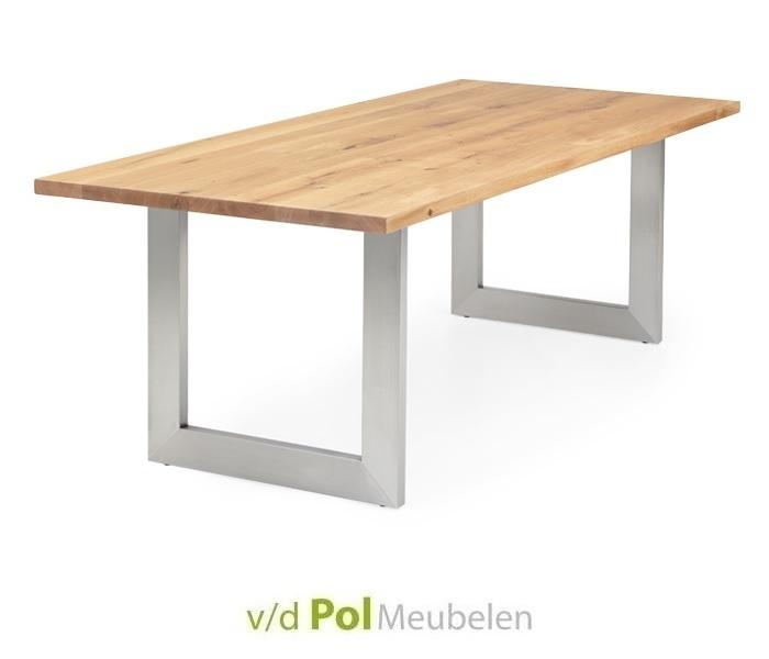 Eettafel recht blad witte U-poot 140 t/m 300 cm