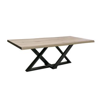 Eetkamertafel-Zens-metaalonderstel-boomstamblad-massiefeiken-gladblad-uniekonderstel-diversekleuren-tafelopmaat-robuust-zwart
