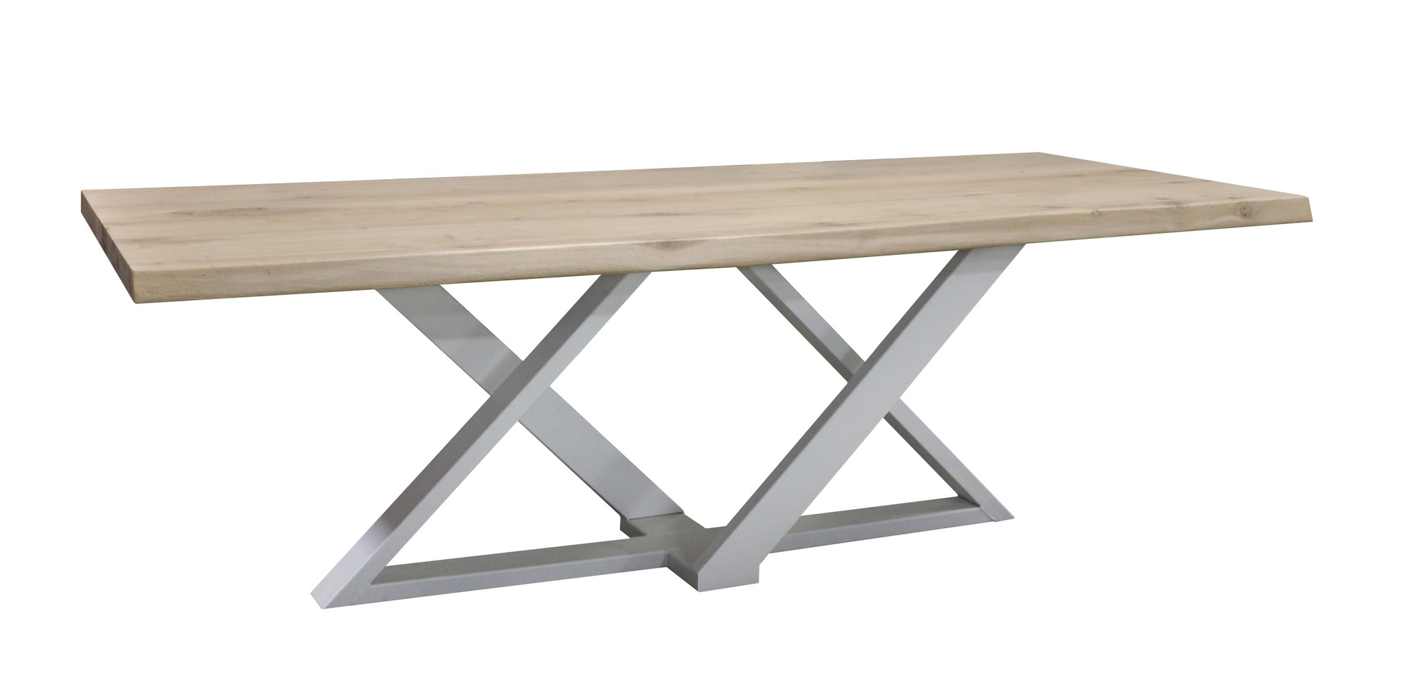 Eetkamertafel-Zens-metaalonderstel-boomstamblad-massiefeiken-gladblad-uniekonderstel-diversekleuren-tafelopmaat-robuust-wit