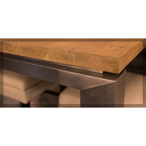 Maatwerk tafel massief eiken RVS poot