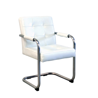 eetkamerstoel-vintage-wit-vermeer meubelen-leer-knopen-sledeframe