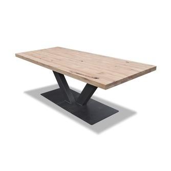 Eettafel-eiken-v-poot-km-polmeubelen-metaal-onderstel-eiken-tafelblad-vvormig-onderstel-680-700