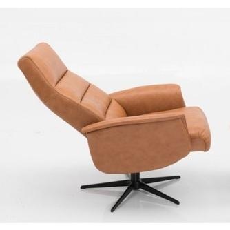 Fauteuil-3252-stof-leder-cognac-draaibaar-verstelbaar-verstelbare-rug-metalen-zwart-kruispoot-horizontaal-stiksel-modern-armleuning-relaxfauteuil-hjort-knudsen-utrecht-bilthoven