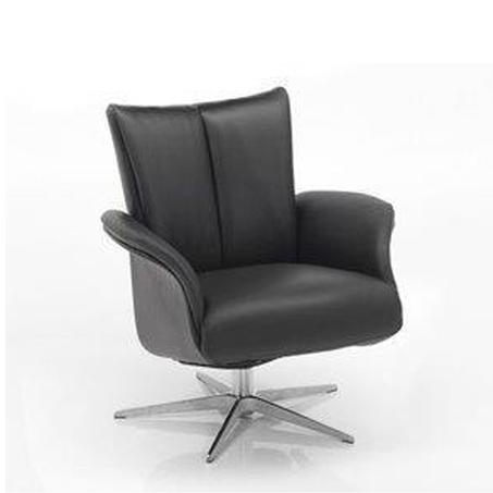 leren relaxstoel 5204 is een design fauteuil van Hjort Knudsen, verstelbare rug en draaibaar onderstel