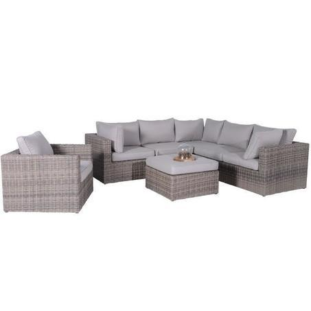 Loungeset-de-Bilt-Tuinsets BV-5-delig-wicker-vlechtwerk-aluminium-frame-new-kubu-grijs-Spunpolyester-kussen-waterafstotend-eenvoud-schoonmaken-zand-hoekbank-loungebank-poef-fauteuil-Utrecht-Garden-Impressions