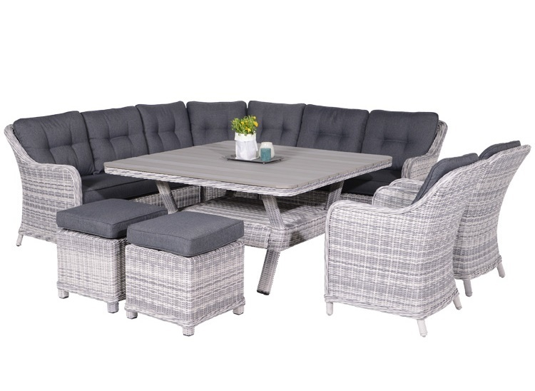 Lounge diningset Soest 8-delig cloudy grey
