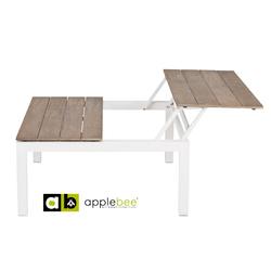 pebble-beach-verstelbare-koffietafel-applebee-wit-aluminium-teakhout-aanschuiven-wit-onderstel-natuurlijk