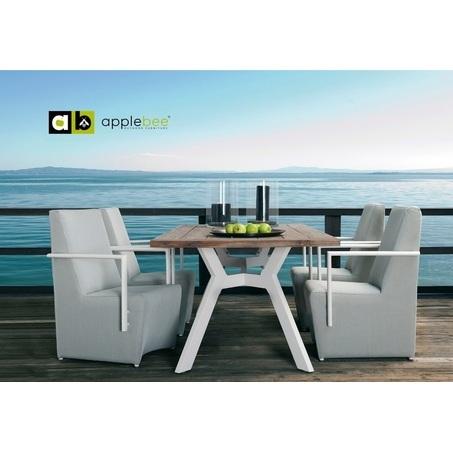 tuinset-viking-5-delig-applebee-plaza-stoel-tuinstoel-tuinfauteuil-aluminium-wit-frame-textileen-buitenstof-grijs-teakhout-houten-tafelblad-blad-natuurlijk