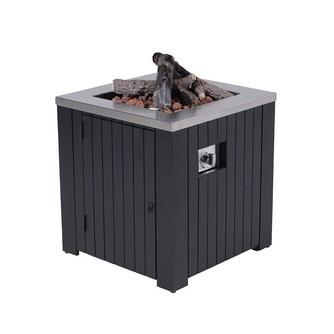sfeerhaard-lava-aluminium-mat-zwart-lavastenen-lava houtblokken-gasvuurtafel