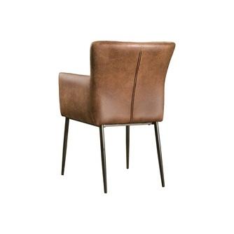eetkamerstoel-ibiza-lichtbruin-bruin-fabric-verticaal-stiksel-donkere-houten-poot-towerliving-armleuning
