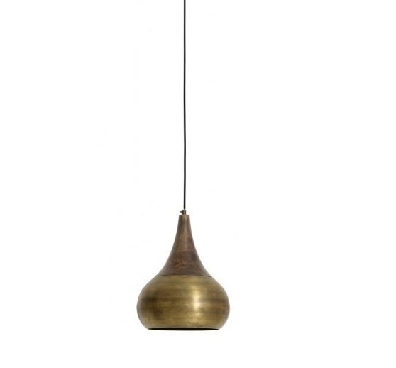 Hanglamp brons houten kop ∅ 28 cm