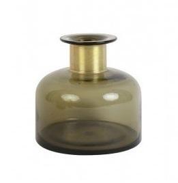vaas-o-18-cm-x-18-cm-glas-bruin-fles-woondecoratie-5900764-Light-&-Living-rond-bol-koper-hals