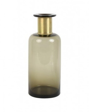 vaas-o-12-cm-x-30-cm-glas-bruin-diameter-slank-hoog-koper-hals-goudkleurig-5900864-light-&-living-industrieel-stoer-donker-glas-vazen-fles-slank