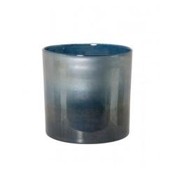 vaas-diameter-21-x-20-cm-glas-blauw-zee-groen-parelmoer-6119180-windlicht-laag-cilinder-light-&-living-kaarshouder