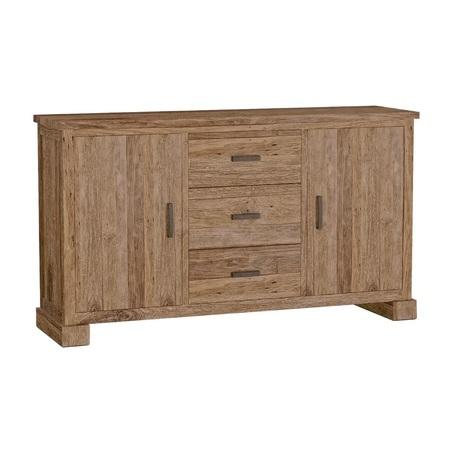 Teak dressoir Lorenzo met 2 deuren, 3 lades is 180x90x45 cm.