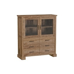 vitrinekast-lorenzo-120-cm-ss0852-2-deurtjes-6-lades-teakhout-rustiek-stoer-robuust-metalen-greepjes-glazen-deurtjes-kast-