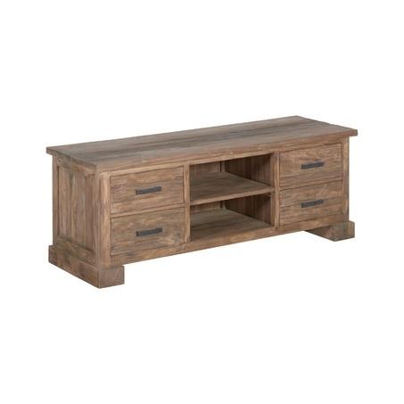 Teak tv meubel Lorenzo met afmeting 150 x 50 cm heeft 4 lades en 1 plank