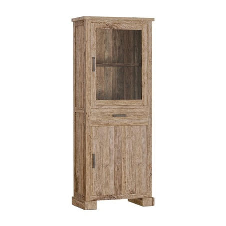 Buffetkast-vitrinekast-kast-lorenzo-75-cm-teakhout-rustiek-industrieel-stoer-Bilthoven-Utrecht-ss0862-2 -deurtjes-glazen-deurtje-1-lade-gerecycled-hout-vitrine-metalen-greepjes-glas