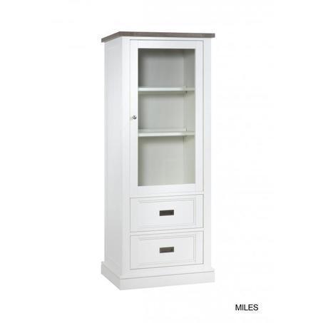 vitrinekast-lamulux-rechts-sepia-mont-blanc-wit-vergrijsd-glas-deur-2-lades-houtstructuur-smal