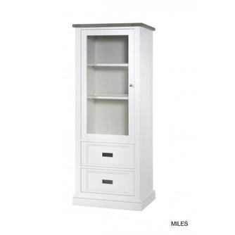vitrinekast-lamulux-rechts-sepia-mont-blanc-wit-romantisch-landelijk-glazen-deur-lades-metalen-greepjes-2-legplanken-kast