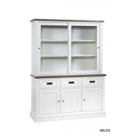 buffetkast-lamulux-hout-look-2-glazen-deuren-schuifdeuren-3-gesloten-deuren-lades-laden-mont-blanc-wit-sepia-metalen-greepjes-romantisch-landelijk-miles-150-breed