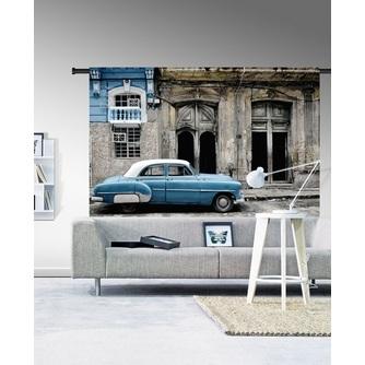 wandkleed-havana-havanna-urban-cotton-organisch-katoen-140-cm-hoog-190-cm-breed-auto-blauw-vintage-muurdoek-kleed-aan-de-muur-oldtimer-wanddecoratie-bilthoven-meubelwinkel