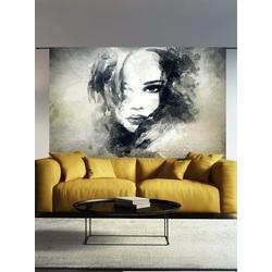 wandkleed-the-look-gezicht-vrouw-zwart-wit-urban-cotton-organisch-katoen-140-190-cm-grijs-tinten-muurkleed-doek-aan-de-muur
