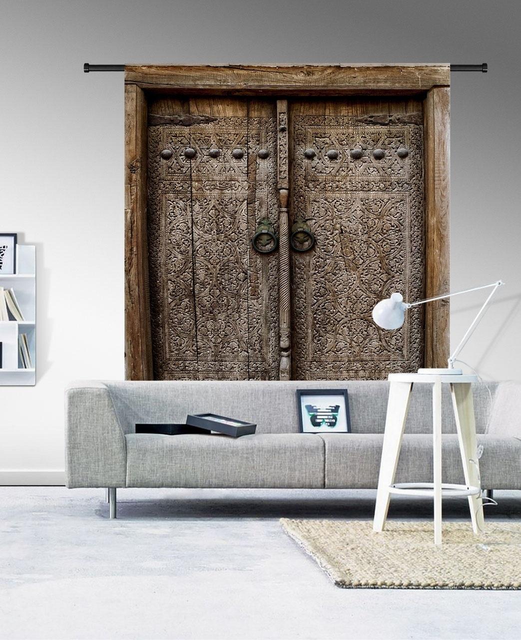 Wandkleed Old doors 185 x 145 cm