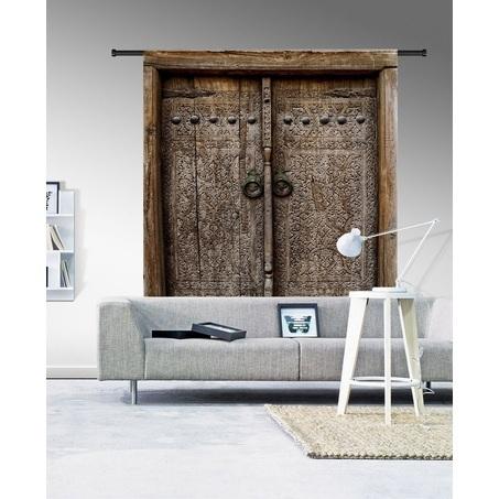 wandkleed-old-doors-urban-cotton-organisch-katoen-oude-deuren-stalen-deurgrepen-houten-deur-valencia-bruin-185-145-cm-muurkleed-doek-aan-de-muur