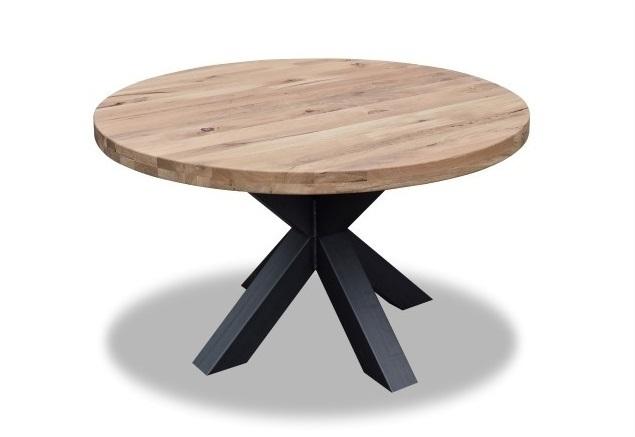 Ronde eiken tafel kruispoot Ø 130 cm