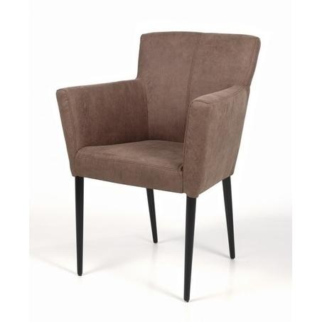 eetstoel-cortina-armleuning-leder-stof-leer-houten-poot-RVS-onderstel-verticaal-stiksel-industrieel-modern-strakke-afwerking-recor