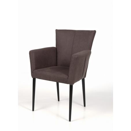 eetstoel-calivo-eetkamerstoel-stoel-armleuning-leder-stof-leer-houten-poot-RVS-onderstel-verticaal-stiksel-industrieel-modern-strakke-afwerking-recor