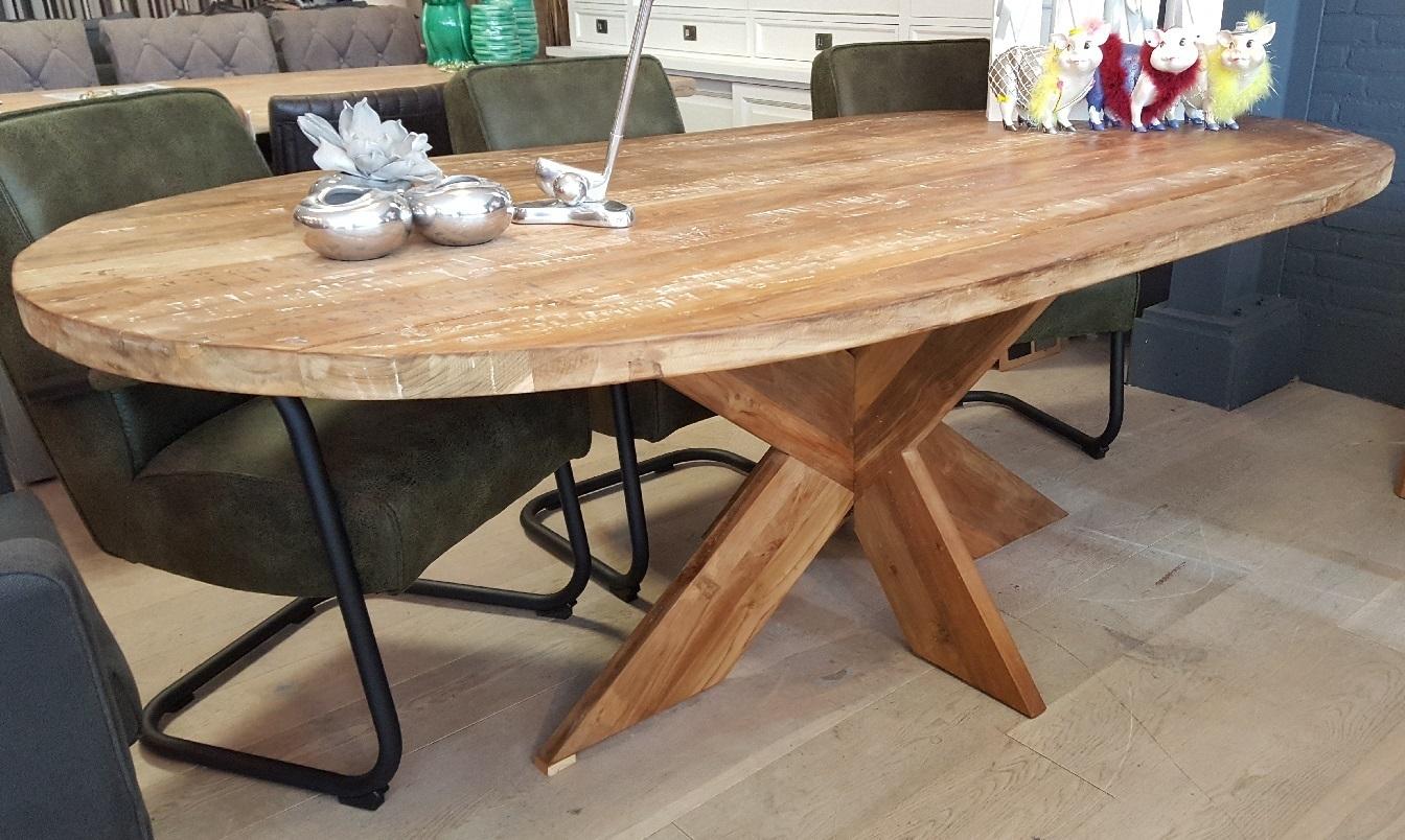 New Ovale tafel teakhout 220 cm bij v/d Pol Meubelen Kopen? @NU43