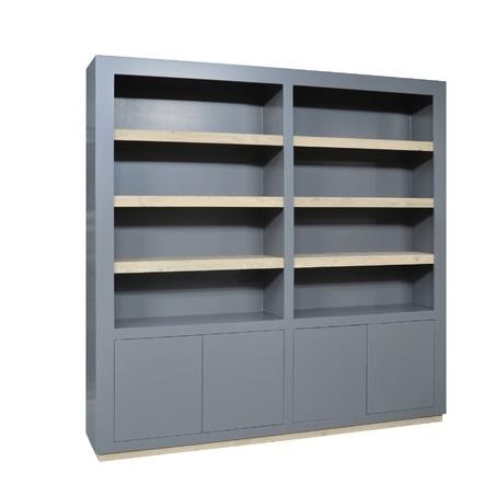 vakkenkast-fris-230-cm-gelakt-hout-donkergrijs-grijs-4-deuren-8-vakken-Vermeer-MBK105-modern-strak-grote-kast-230-cm