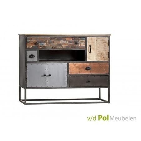 dressoir-mastercraft-3-deurs-deuren-4-lades-laden-industrieel-stoer-komgrepen-ijzer-metaal-fabriek-mangohout-gerecycled