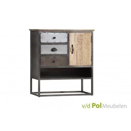 ladenkast-mastercraft-1-deur-3-lades-laden-industrieel-stoer-komgrepen-ijzer-metaal-fabriek-mangohout-gerecycled-kleine-kast-open-vak