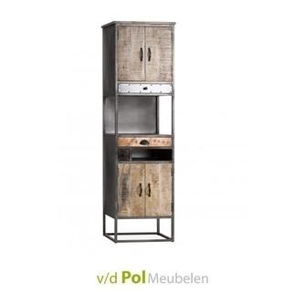 Kast-vakkenkast-mastercraft-4-deurs-deuren-3-lades-laden-industrieel-stoer-komgrepen-ijzer-metaal-fabriek-mangohout-gerecycled-kleine-kast-open-vak