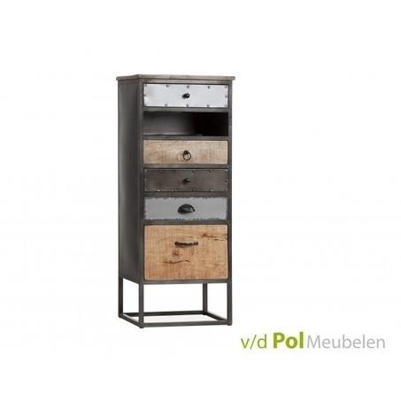 Kast-ladenkast-mastercraft-5-lades-laden-industrieel-stoer-komgrepen-ijzer-metaal-fabriek-mangohout-gerecycled-kleine-kast-open-vak