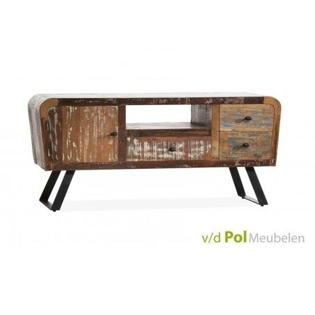 tv-dressoir-mastercraft-tv-meubel-lage-kast-u-poot-ijzer-metaal-zwart-grijs-mangohout-gerecycled-hout-knop-industrieel-stoer-vintage