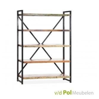 boekenkast-mastercraft-mf-design-planken-mangohout-gerecycled-metaal-kruispoot-industrieel-vakkenkast-stoer-zwart-stelling-kast