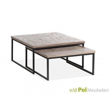 set-vierkante-salontafels-mastercraft-salontafel-vierkant-mf-design-metalen-onderstel-U-poot-industrieel-stoer-teakhout-blad-2-bijzettafels-woonkamer-koffietafels-huiskamer