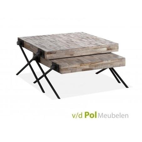 set-vierkante-salontafels-mastercraft-salontafel-vierkant-mf-design-metalen-onderstel-X-poot-kruispoot-industrieel-stoer-teakhout-blad-2-bijzettafels-woonkamer-koffietafels-huiskamer