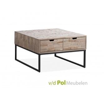 salontafel-mastercraft-2-laden-lades-bijzettafel-koffietafel-tafel-woonkamer-huiskamer-zithoek-metaal-onderstel-poot-teakhout-hout