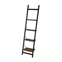 boekenrek-zwart-metalen-frame-mangohout-hout-industrieel-stoer-wandrek-ladder-eleonora