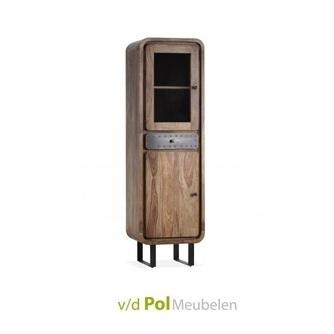 vitrinekast-mastercraft-53-breed-38,5-cm-mfdesign-sheesham-hout-wood-houten-kast-gerecyced-ijzer-metaal-u-poot-industrieel-stoer-glazen-deur-gesloten-deur-lade-slanke-kast-woonkamer-eethoek