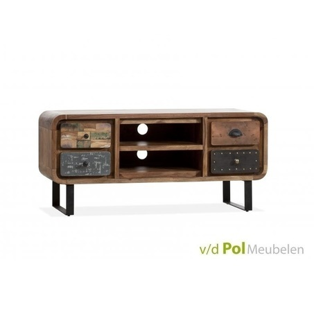 tv-dressoir-mastercraft-tv-meubel-lage-kast-u-poot-ijzer-metaal-zwart-grijs-sheesham-hout-hardhout-knop-industrieel-stoer-vintage