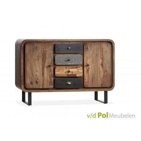 dressoir-mastercraft-2-deurs-deuren-4-lades-laden-industrieel-stoer-knoppen-metaal-fabriek-sheesham-hout-hardhout
