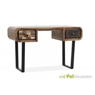 Sidetable-haltafel-bureau-buro-mastercraft-2-lades-laden-industrieel-stoer-knoppen-metaal-fabriek-sheesham-hout-hardhout-vintage